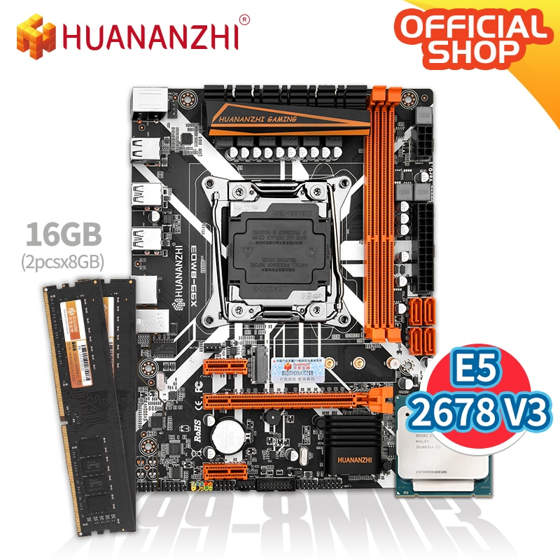 HUANANZHI X99 8MD3 X99 اللوحة مع إنتل سيون E5 2678 V3 مع 2*8G DDR3 NON-ECC الذاكرة كومبو مجموعة NVME SATA USB 3.0