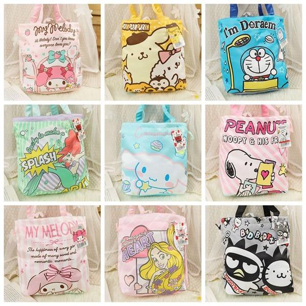 Caricatura Hello Kitty Melody Cinnamoroll pomppurin BADTZ-MARU Bento bolsa niños almuerzo bolsa de compras mujeres Eco bolso de mano