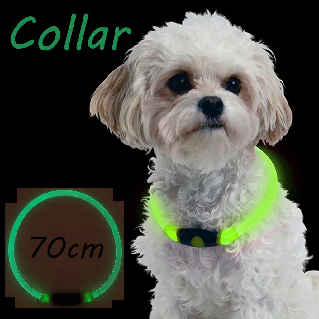 Collares para perros y gatos, Collar con luz LED para perros, collares antipérdida de seguridad nocturna para mascotas, suministros para mascotas, correa para el cuello para perros y gatos # 4z