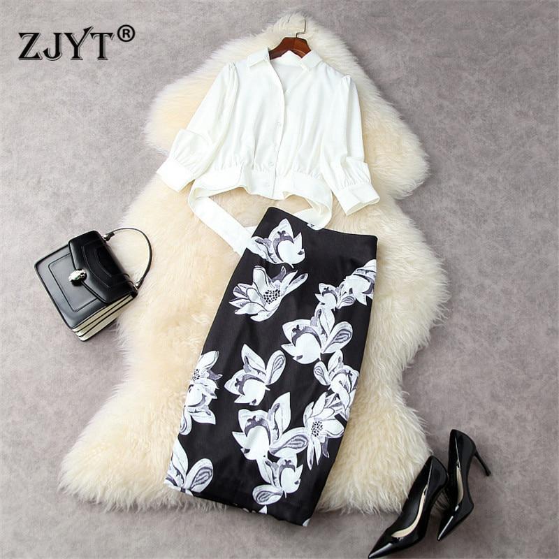 2020 موضة صيف المدرج البدلة المرأة المحاصيل بلوزة بيضاء ومجموعة الأزهار تنّورة مجسّمة 2 قطعة ملابس مكتب سيدة