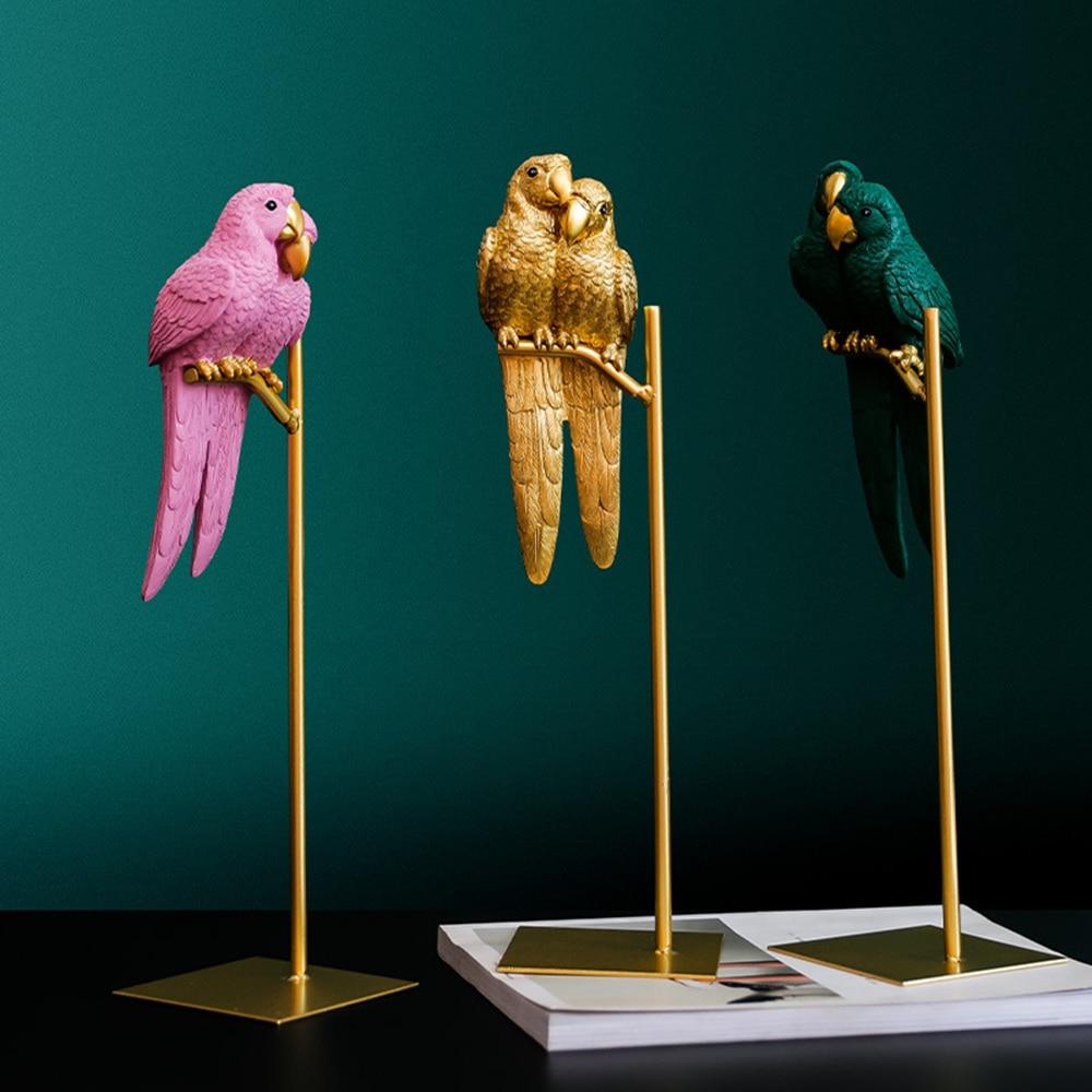 Nordic Creative Resin Simulated Animal Parrot Bird Crafts Ornaments Gold Modern Home Desktop Decoration Miniature Figurines