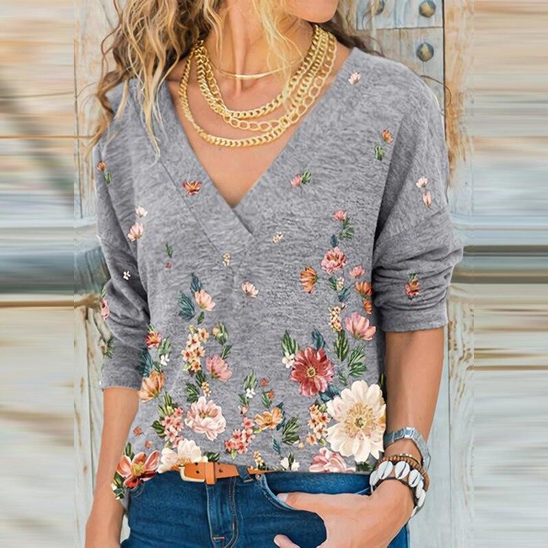 2020 profundo decote em v das mulheres camisa moda elegante impresso senhoras camisa queda floral retro manga longa topo senhoras rua wear
