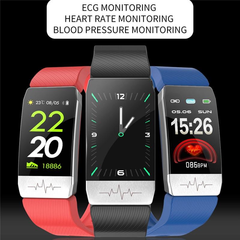 T1S سوار ذكي جهاز تعقب للياقة البدنية درجة حرارة الجسم ECG مراقب معدل ضربات القلب ساعة ذكية تحكم بالموسيقى الرياضة الفرقة T5 للرجال النساء
