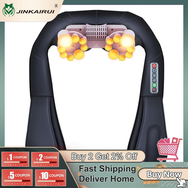 Jinkairui Electrical Neck Shoulder Back Body Massager Shiatsu Kneading Infrared Heated Massage Car Home Masaj Device with Box