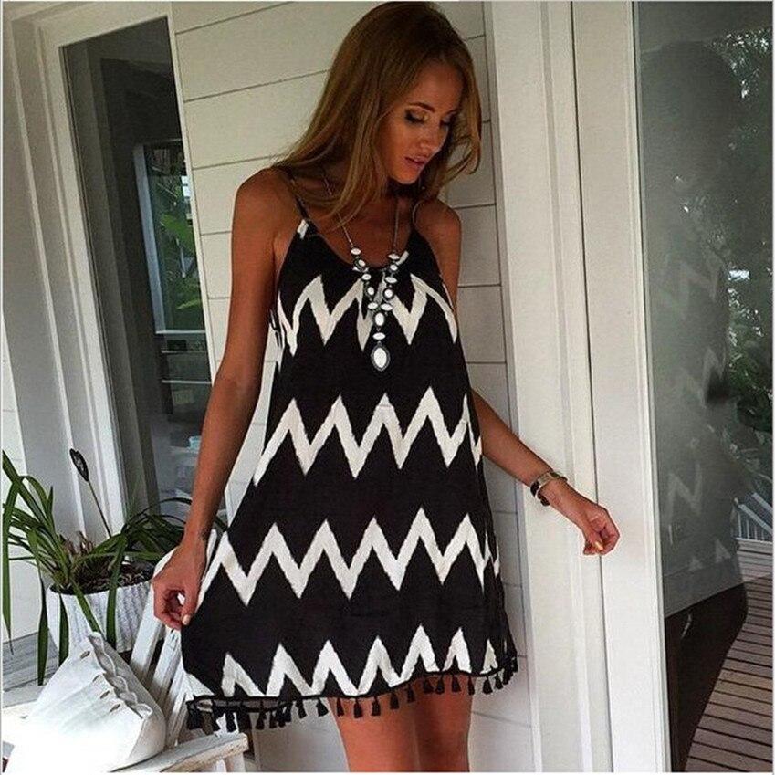 Plus Size Dress Casual Women Summer Dress Black And White Wavy Striped Mini Dress 4xl 5xl 6xl Sexy Backless Beach Slip Dress New