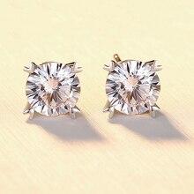 BOEYCJR 925 argent 1ct F couleur Moissanite VVS bijoux fins diamant coeur boucle doreille avec certificat national pour les femmes cadeau