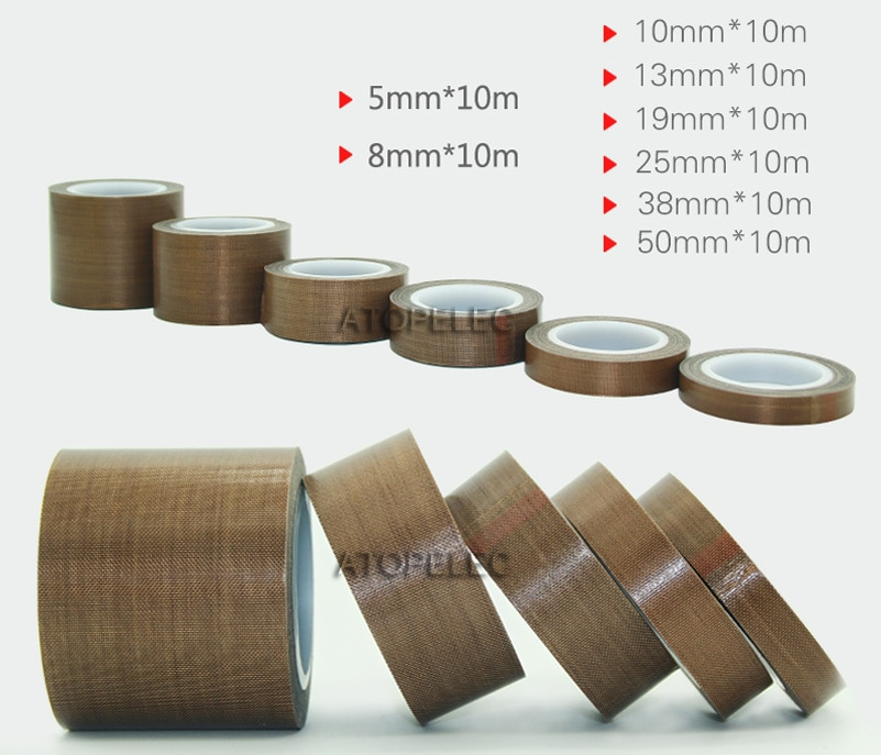 PTFE F4 cinta adhesiva tela resistente al calor alta temperatura 300Deg. C máquina de sellado al vacío 0,13mm 10M * 5mm/8mm/13mm/19mm/25mm