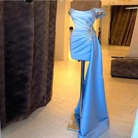 sky blue asymmetrical mini cocktail dresses off the shoulder beads shiny short evening party gowns custom made prom dress