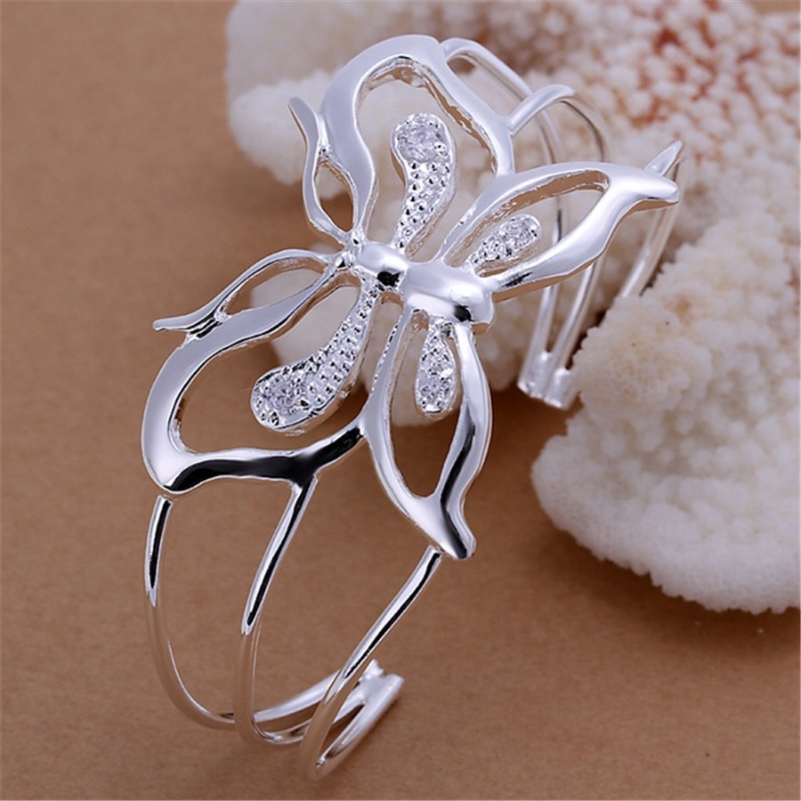 Fashion 925 Sterling Silver Luxury Butterfly Bangles Womens Hand Bracelets Wedding Engagement Party Jewelry Gifts GaaBou
