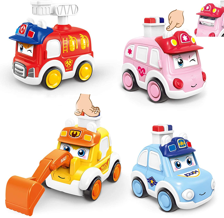 Детские машинки, игрушки для мальчиков 1 года, игрушки для малышей с эффектом пуш-ап, ветрозащитные машинки, 4 шт., фрикционные транспортные с...