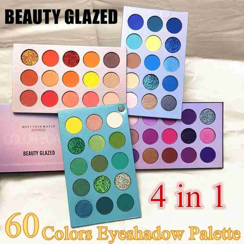 Beauty Glazed 60 colores Set metálico paleta de sombras para ojos resaltar paleta de sombra de ojos brillo de ojos pigmento maquillaje cosmético