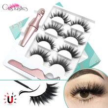 Crislash ensemble de cils magnétiques cils dramatiques 10-25mm faux cils de vison naturel avec aimant Eyeliner maquillage longue durée