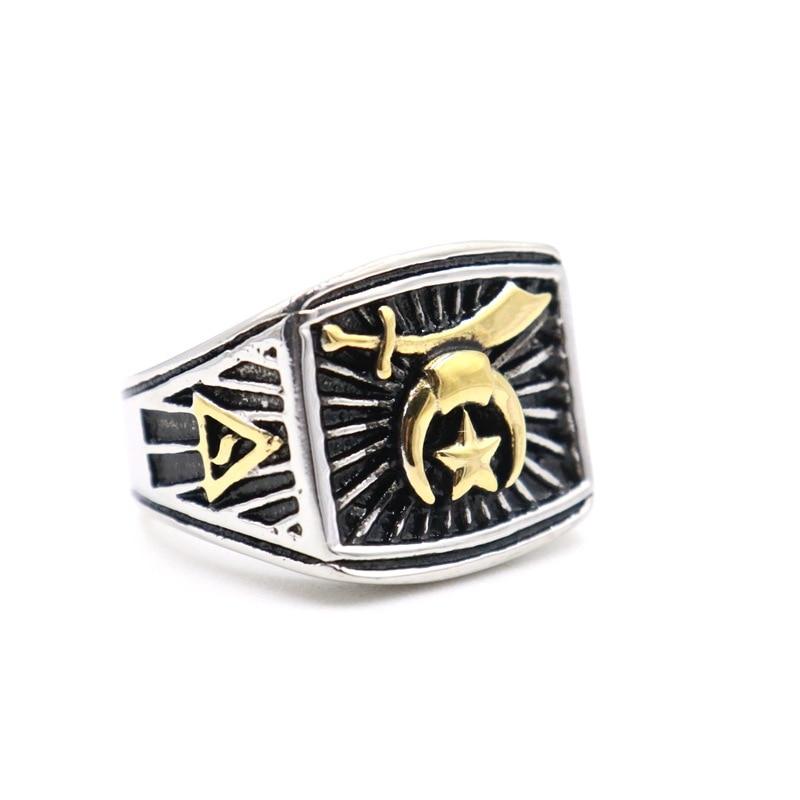 2020 nuevas estrellas del sol y la luna símbolo Retro de los hombres Shriner oro plata color Masonic anillos Mystic Shrine masón Signet joyería