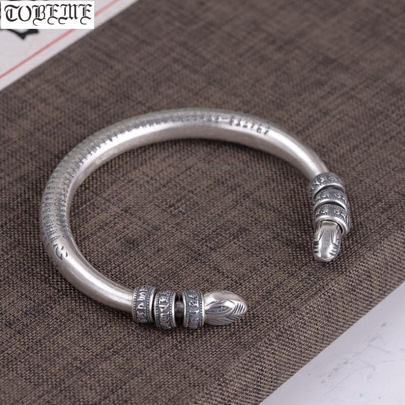 100% 990 plata tibetana seis palabras pulsera de cuentas de plata pura budista Sutra del Corazón pulsera brazalete tibetano brazalete de buena suerte
