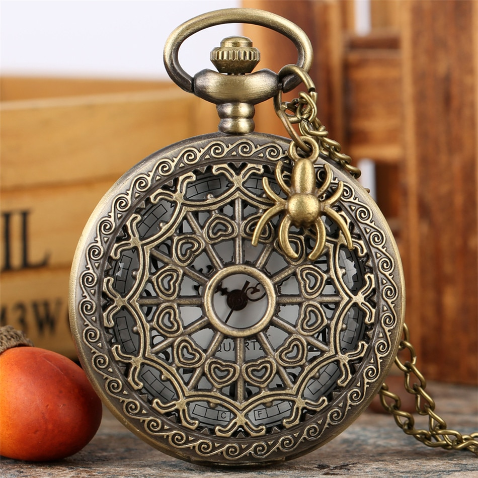 Vintage bronce araña Web cuarzo relojes de bolsillo hombres mujeres Retro collar reloj hueco colgante reloj de bolsillo regalos