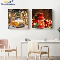 photocustom landscape 40x50cm paints by numbers christmas snow scene for adults and children acrylic picture home decor gift
