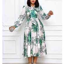 Plus Size Women Floral Print Dress Bow Neck African Party Dress 2021 New Spring Long Sleeve Vintage
