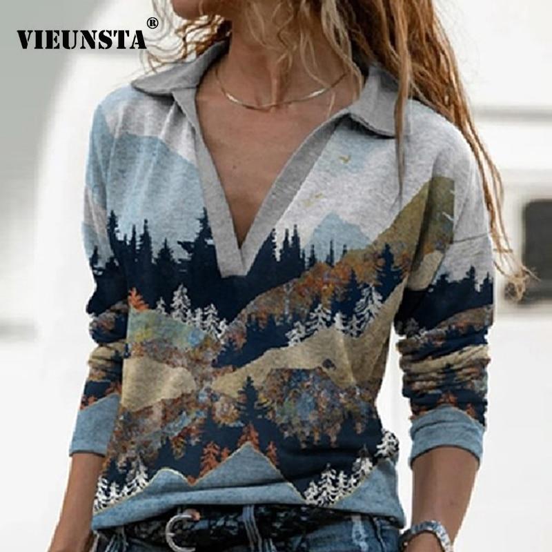 Diseño elegante Impresión de paisaje Blusa camisa Mujeres Nuevo otoño Turn-down Collar Top Pullover Vintage manga larga Streetwear Blusa