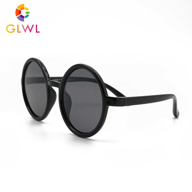 Glwl crianças redondos óculos de sol meninos óculos polarizados para crianças polaroid óculos bebê menina silicone molduras seguro esportes uv400