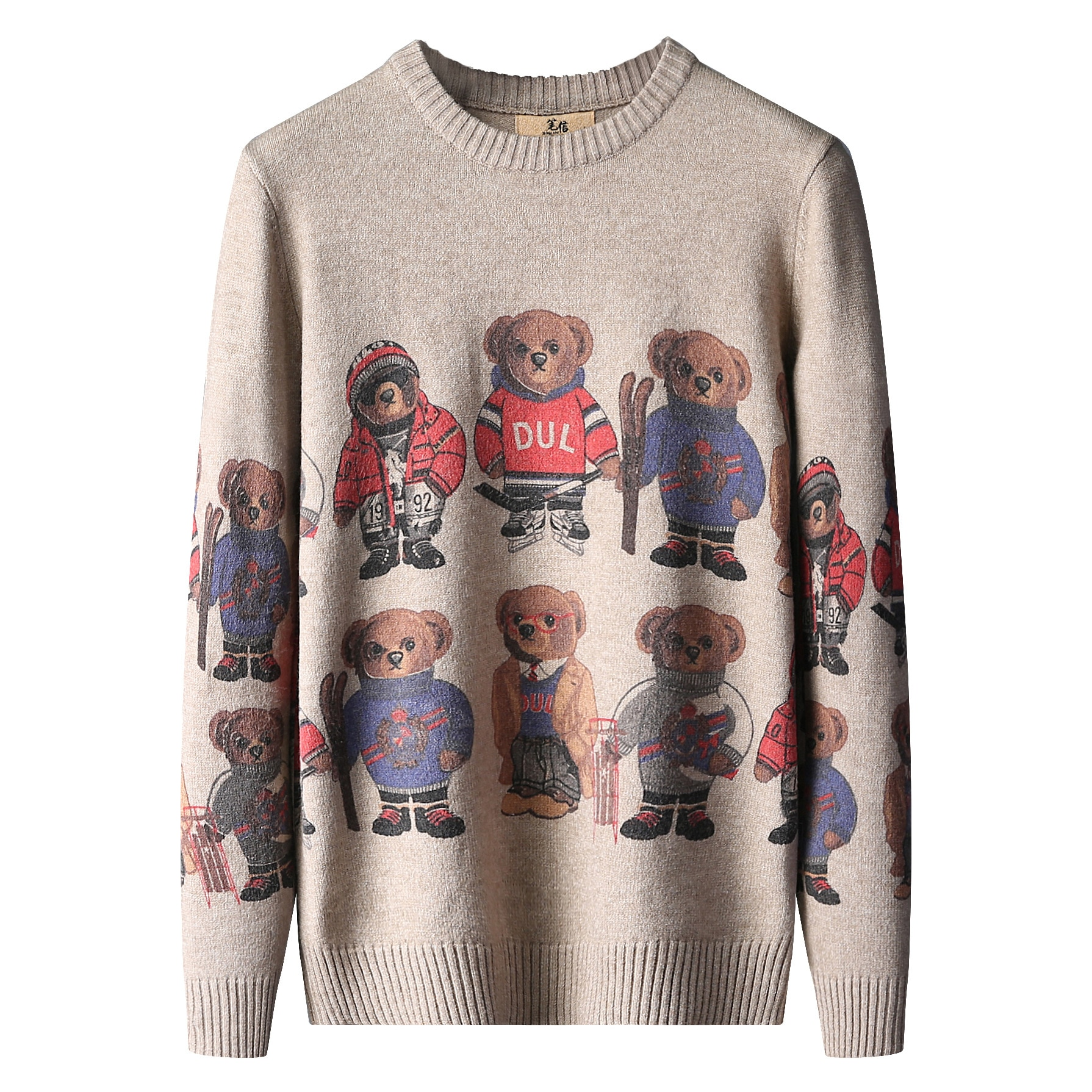 New Autumn Winter Cashmere Warm Sweater Men Bear Print Mens Slim Fit Sweaters Tops Knitted Men's Christmas Jumper