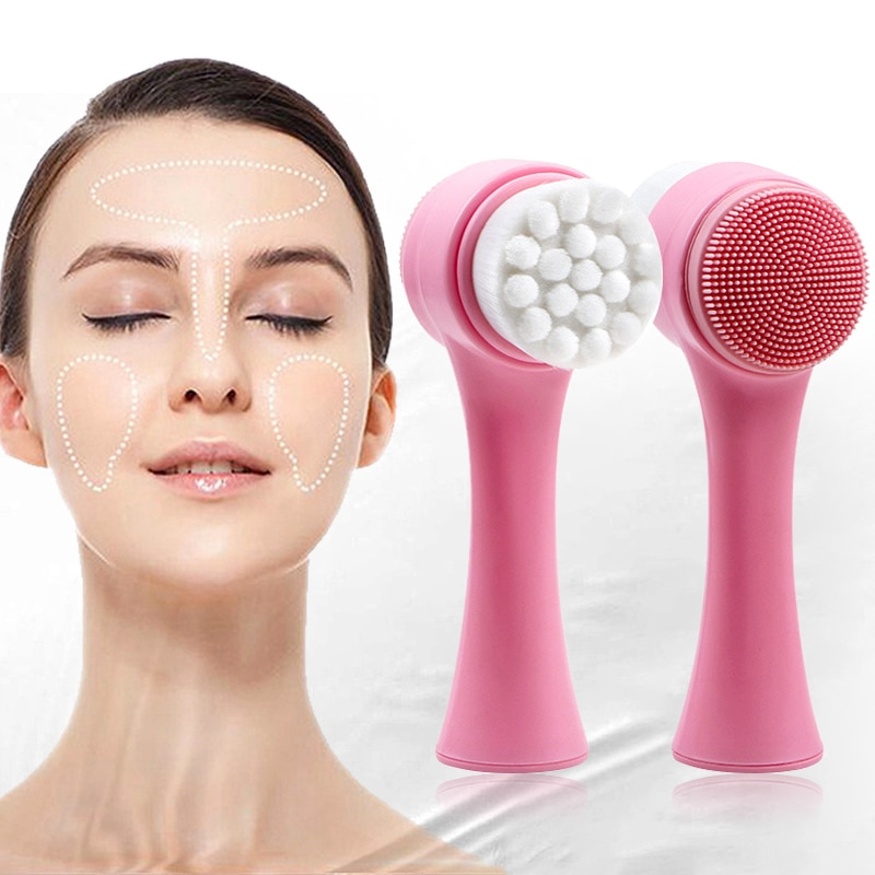 Double-sided Facial Cleanser Brush Silicone Skin Care Tool Face Cleaning Vibration Facial Massage Wa