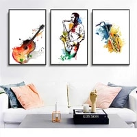 canvas watercolor music saxophone guitar posters and prints singer dream wall pictures for living room abstract poster