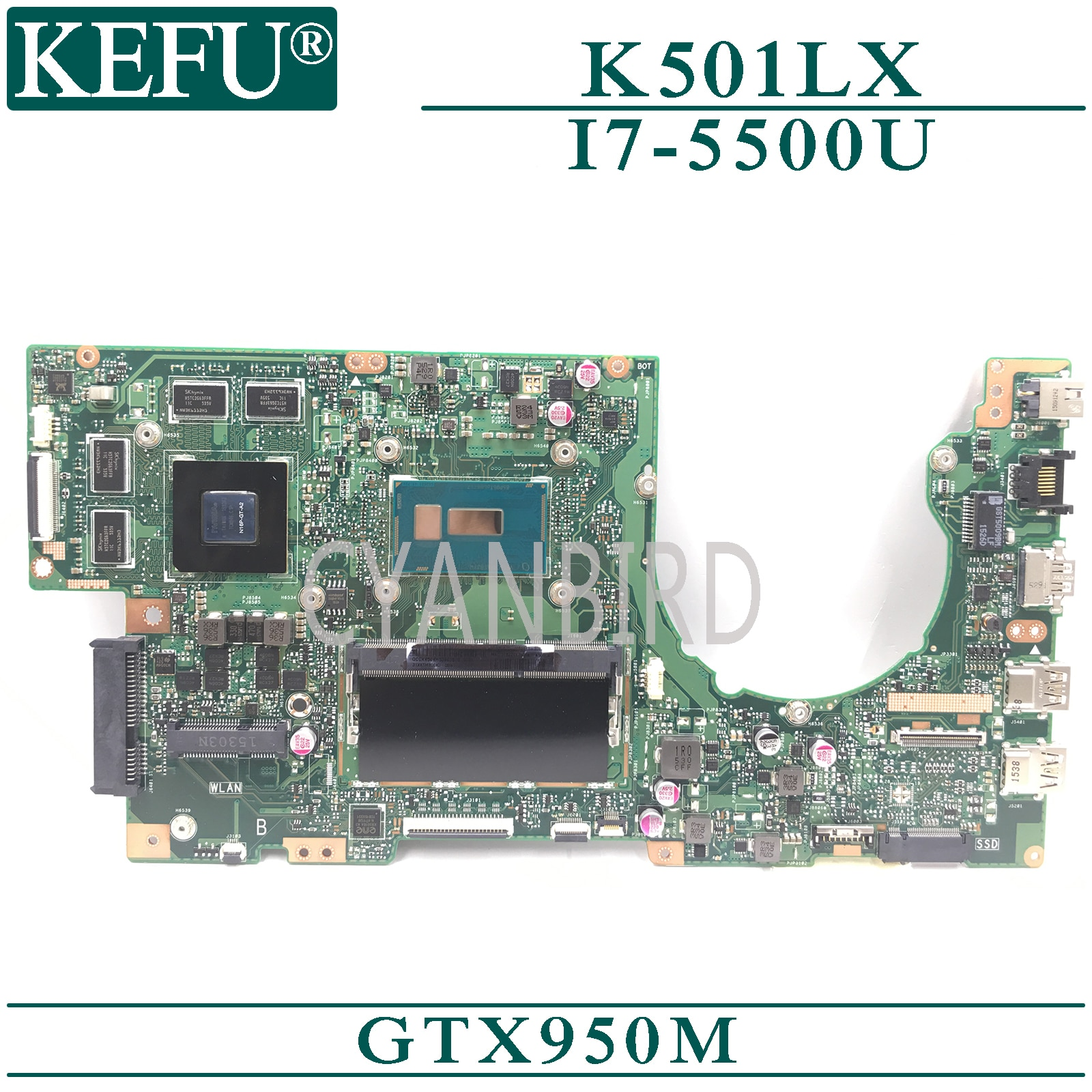 KEFU K501LX الأصلي اللوحة الرئيسية ل ASUS K501LX K501LB مع 4GB-RAM I7-5500U GTX950M اللوحة الأم للكمبيوتر المحمول