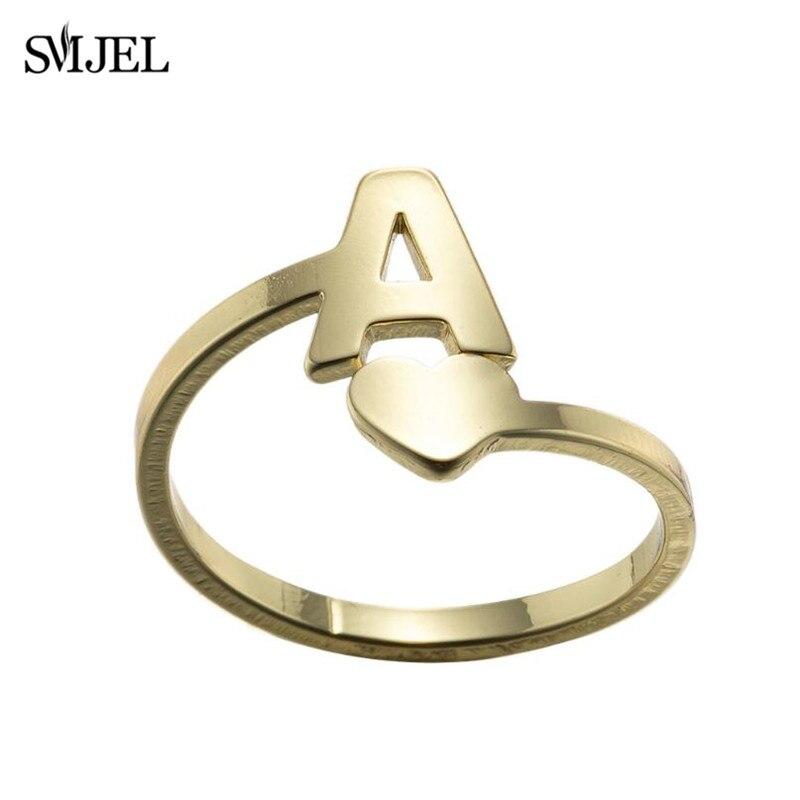 SMJEL крошечное сердце A-Z кольца с буквами регулируемое кольцо из нержавеющей стали с инициалами имя Алфавит Женская Вечеринка трендовые ювелирные изделия