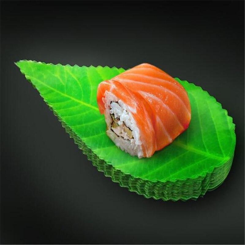 200 unids/pack hoja verde comida japonesa decoración para Sushi hojas Sushi hierba creativa hoja de plástico Sashimi decoración herramientas