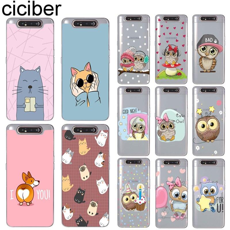 Ciciber cajas del teléfono para Samsung Galaxy A50 A70 A80 A40 A30 A20 A60 A10 A20e de silicona suave de la cubierta del TPU del Animal buho gato Corgi Fundas