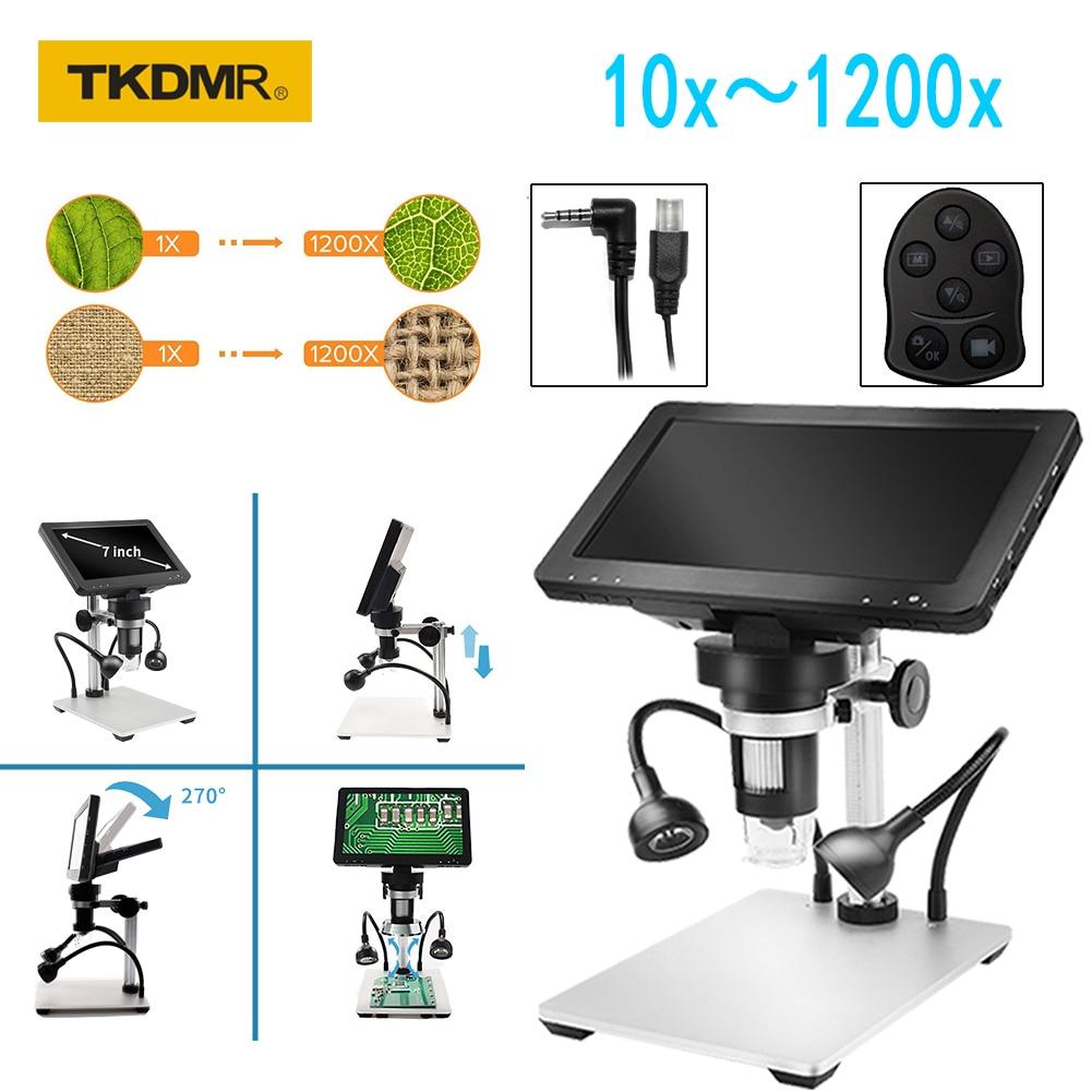 TKDMR-مجهر رقمي 12MP 1200X USB ، شاشة 7 بوصة ، مكبر 8 LED ، التحكم في الأسلاك لإصلاح اللوحة الأم PCB