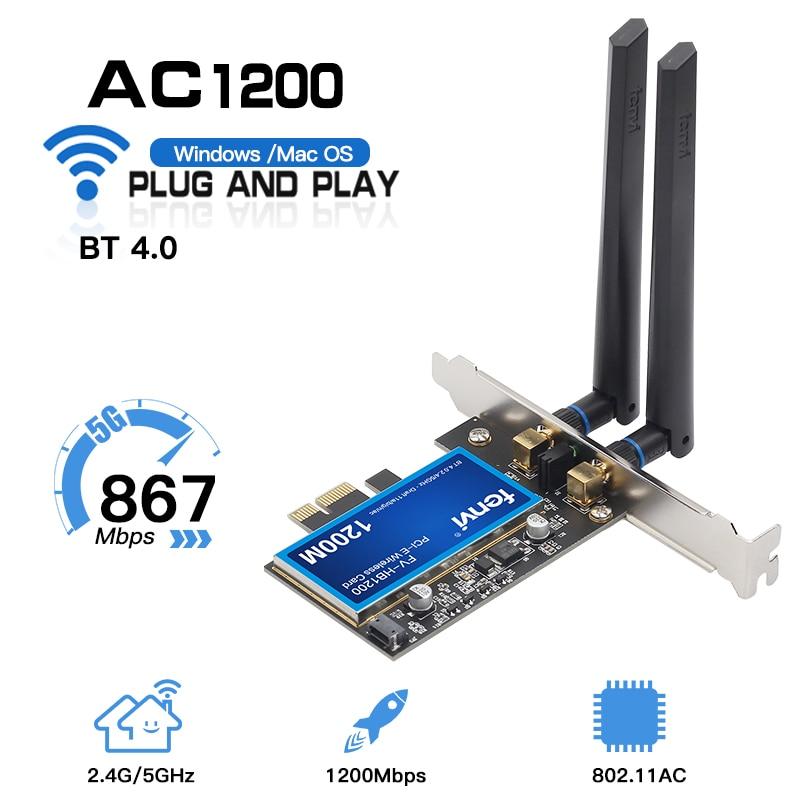 1200Mbps لـ Broadcom BCM94360CS2 ، محول PCIWireless لسطح المكتب ، بطاقة شبكة wi-fi WLAN مع BT4.0 2.4G/5GHz لسطح المكتب Hackintosh