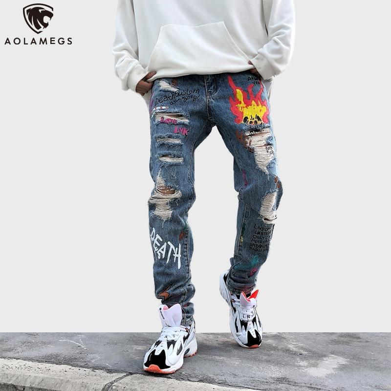 Aolamegs, pantalones vaqueros con estampado de letras Flame para hombre, pantalones de tela vaquera con grafiti, pantalones de agujero roto para hombre, pantalones Punk de estilo urbano informales