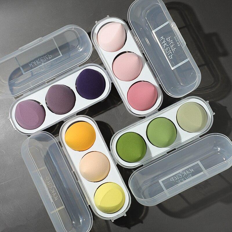 3/4 Piece Set Of Makeup Sponge, Puff, Healthy Latex Soft Sponge, Wet And Dry Set, Beveled Beauty Mak
