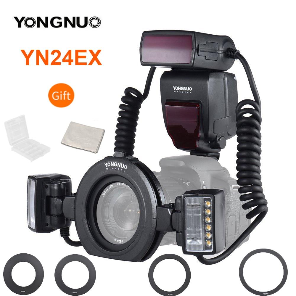YONGNUO YN24EX YN24 EX حلقة ماكرو فلاش E-TTL فلاش Speedlite مع 2 قطعة رؤساء فلاش 4 قطعة محول خواتم لكاميرات كانون EOS