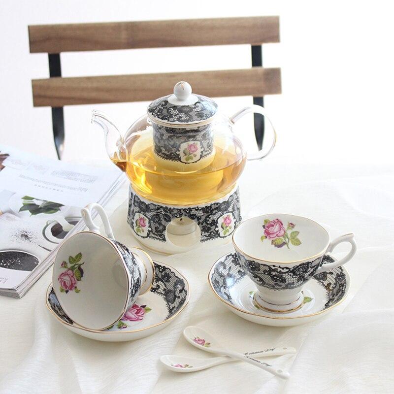 Après-midi britannique thé café tasse ensemble os chine gâteau pan résistant à la chaleur verre théière chauffage fleur thé ensemble accessoires de cuisine