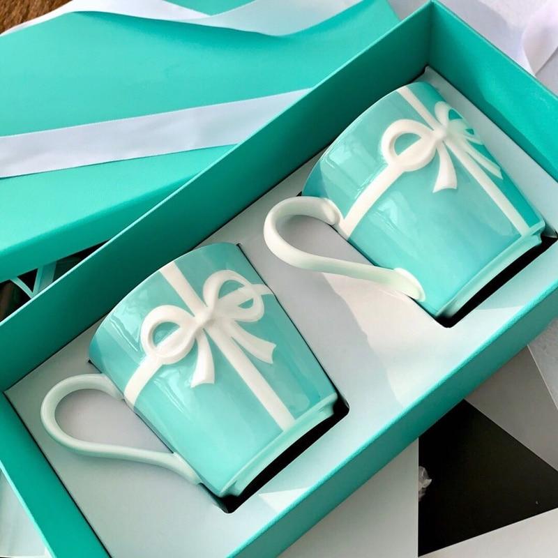Ceramic Mugs Coffee Tea Milk Water Cups & Saucers Kitchen Dining Utensils Blue Presents Box Packaging Wedding Birthday Gifts