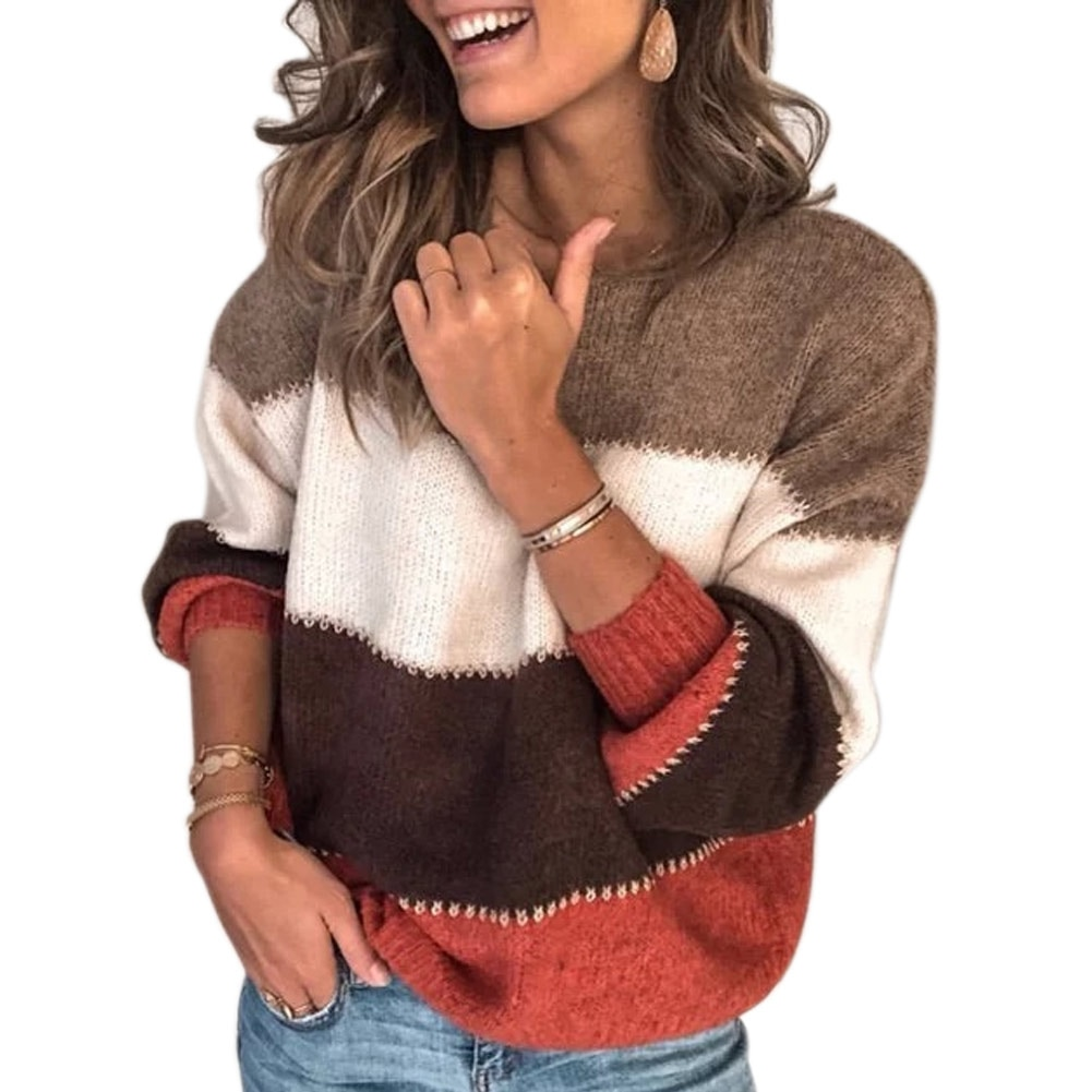 Long Sleeve Striped Sweater Women Autumn Winter Plush Sweater Round Neck Four-color Stitching Warm Sweater TY66