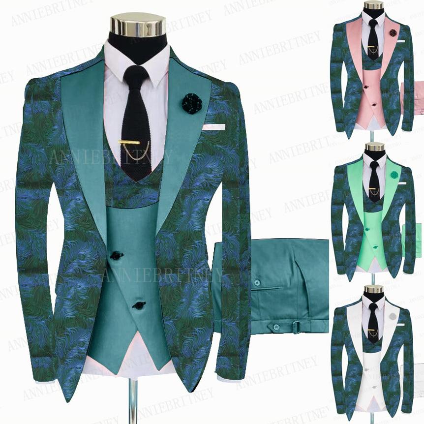 بدلة زفاف رجالية بطبعة زهور خضراء ، بدلة عريس ، بدلة ضيقة ، جاكيت عشاء ، أزرق بحري ، 3 قطع