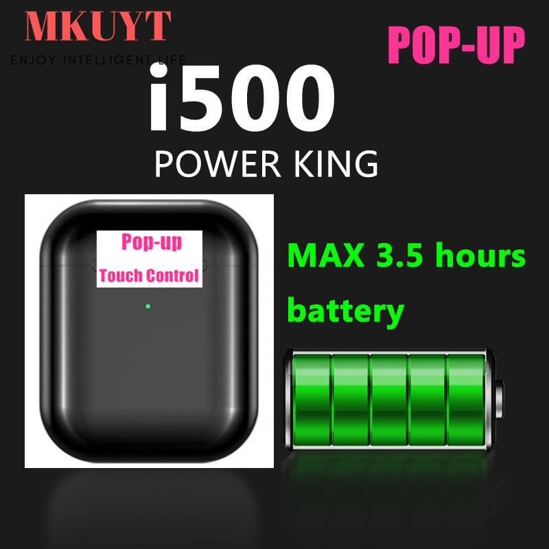 MKUYT I500 TWS Pop Up portátil inalámbrico Bluetooth auriculares de Control táctil auriculares estéreo con Qi caja de cargador inalámbrico
