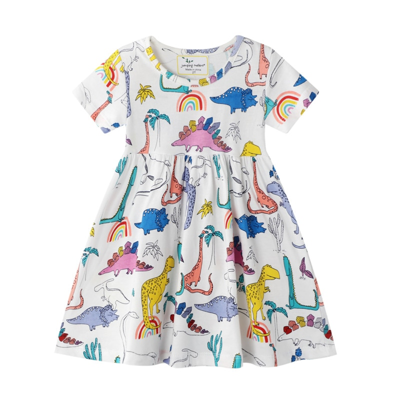 Cotton dresses for little girls 2-7 years old printing style Summer short sleeve