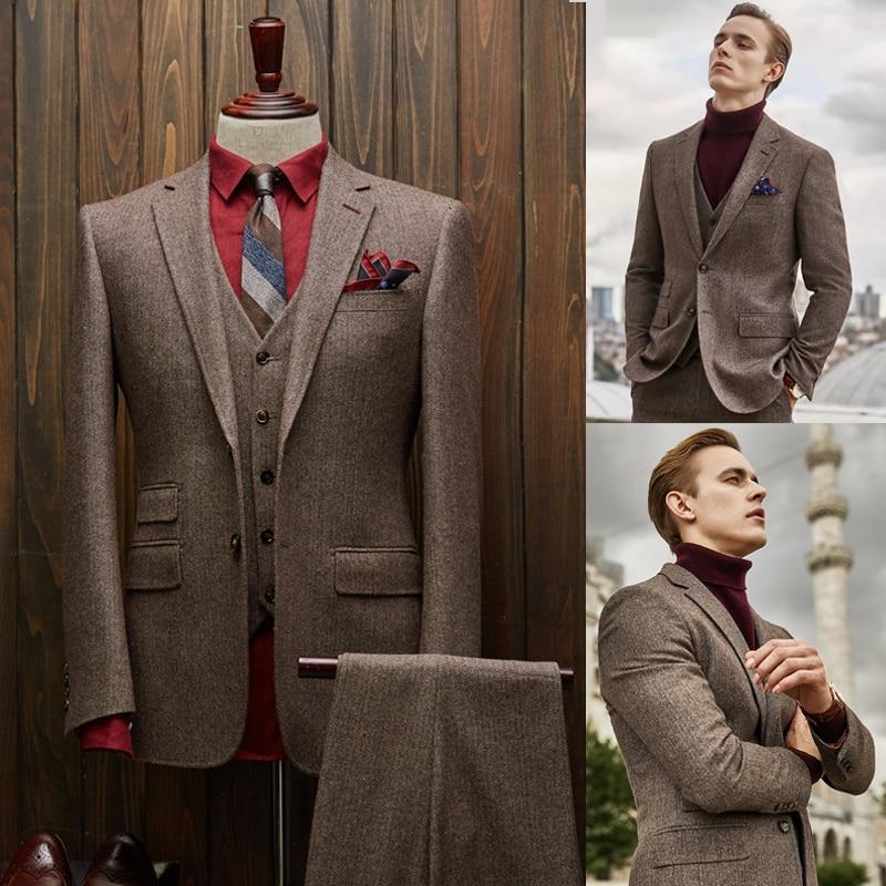وسيم الصوف الرجال البدلات الرسمية مخصص الذكية عادية مدببة التلبيب السترة السببية اليومية 3 قطع مجموعة (سترة + سترة + السراويل))