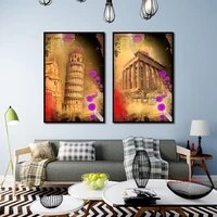 vintage european building poster famous tower temple retro canvas painting nordic wall art pictures for home decoration no frame