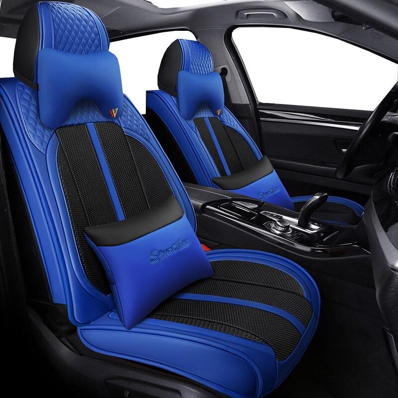 Cubierta de asiento de cuero pu cobertura completa fundas de asientos de coche de fibra de lino para bmw x6 e71 e72 f16 brilliance faw v5 byd s6 s7 changan