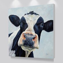 Moderne mignon vache Art mural photo toile imprimée peinture à lhuile sur impressions affiches imprime pour salon et chambre décoration