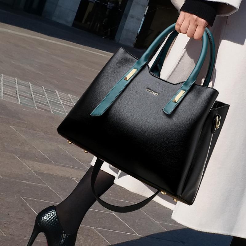 100% Genuine Leather Handbags 2021 New Ladies Hand-held Single Shoulder Hit Color Texture Messenger Large Capacity Bag Purses