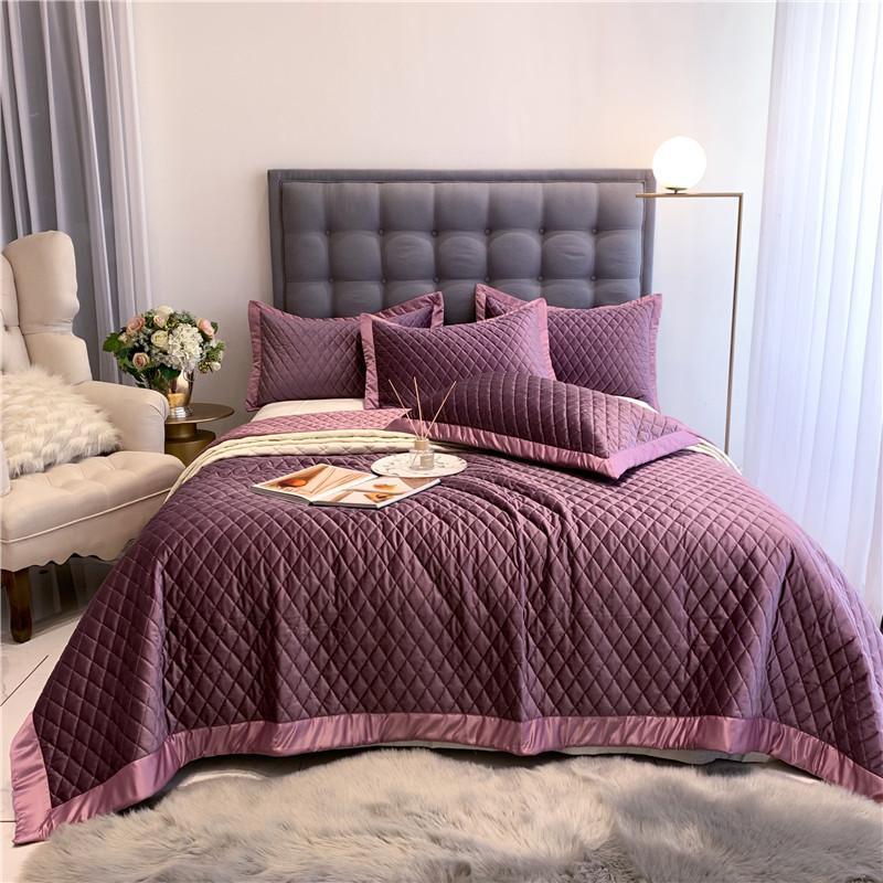 40New الفاخرة الأرجواني الأصفر رمادي أخضر أبيض لينة الحرير المخملية الصوف مفرش مبطن غطاء السرير غطاء سرير بطانية سادات