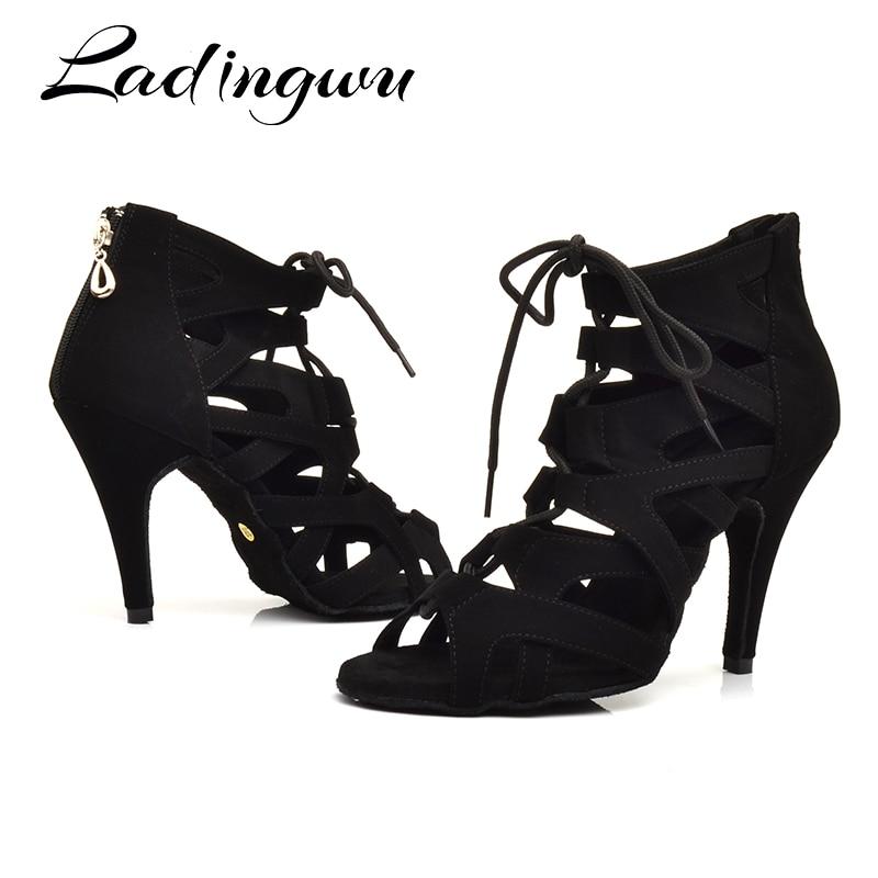 Ladingwu Zapatos De Baile Professiona  Lady Dancing Shoes Salsa Latin Ballroom Dance For Women Brown Black Coots