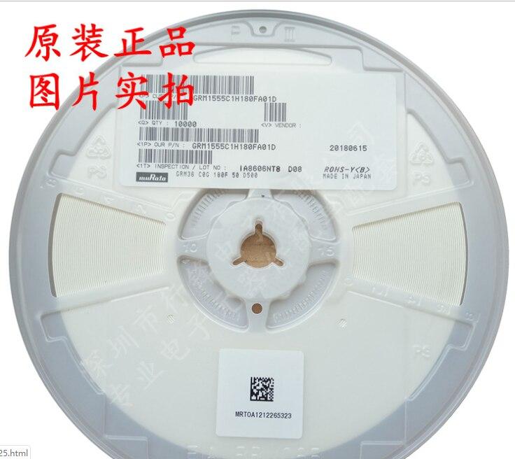 GRM1555C1H180FA01D 0402 18pF 50V ±1% Tolerance C0G SMT Multilayer Ceramic Capacitor 0402 10P 12P 15P 20P 9P 22P 27P 30P 33P 39P