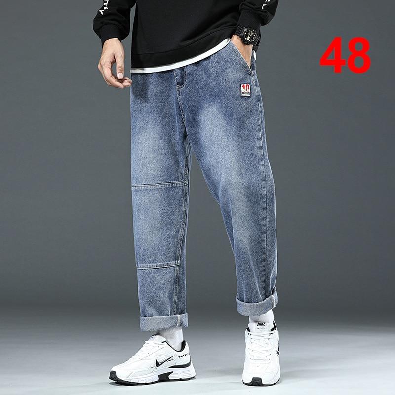 Baggy Jeans Men Big Size Denim Pant Fashion Harajuku Skateboard Jeans Solid Color Elastic Waist Trousers Plus Size 46 48 HX606